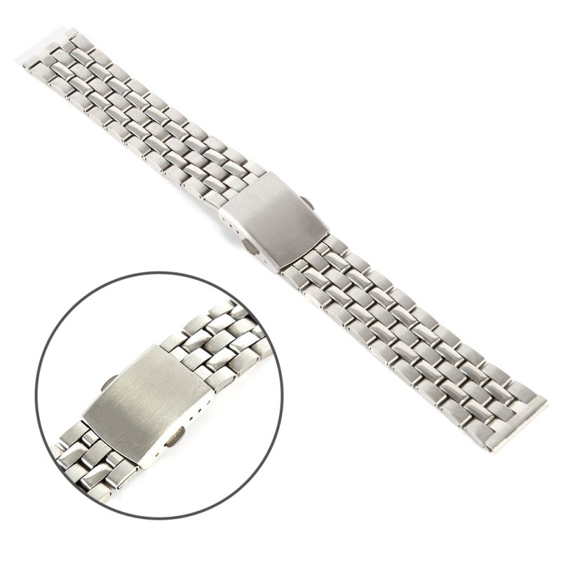 Stainless Steel Metal Strap Silver Watch Band Unisex Bracelet 18 20 22mm Watch Band Double Fold Deployment Clasp Watch Buckle mini stainless steel handle cuticle fork silver