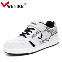 WETIKE 2017 Kid s Skateboard Shoes Outdoor Sports Flat Shoes For Boys Girls  Classic Black and White ae408b1222b8