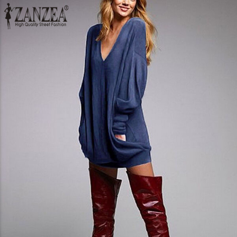 ZANZEA Robes Femmes Robe 2018 Automne Hiver Sexy V Cou lâche Mini de Partie Courte  Robes Feminino Casual Manches Longues Plus taille f9f853c7375c