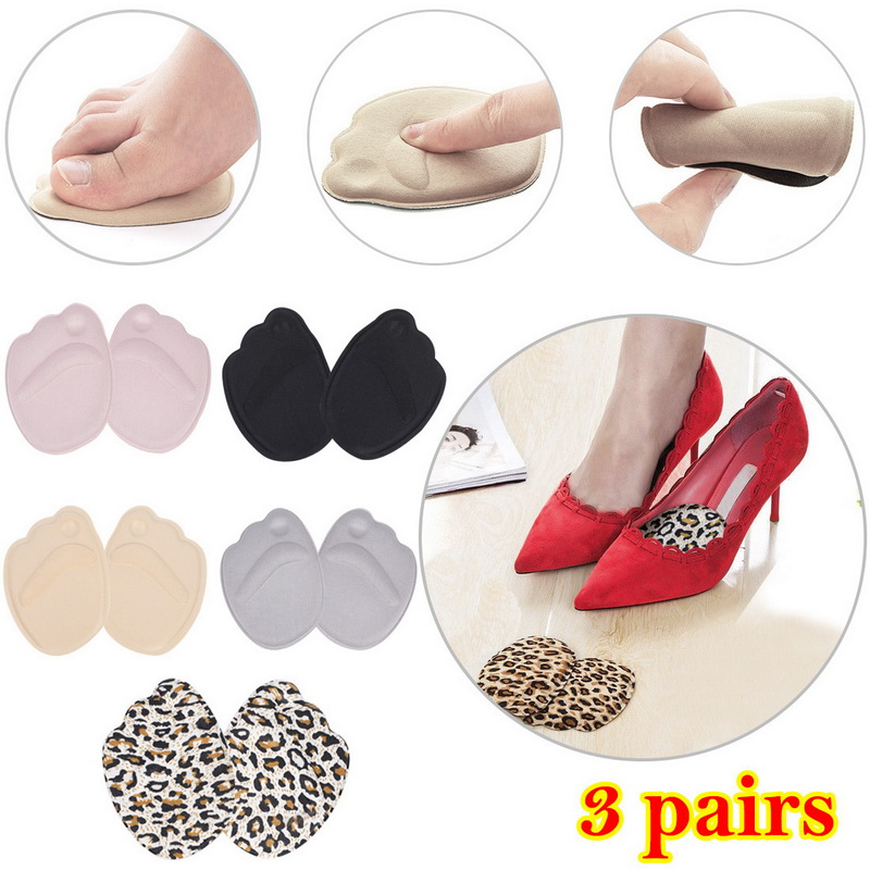 3 Pair Women High Heel Foot Cushions Anti-Slip Forefoot Insole Confortable Breathable Shoes Foot Care Tools Soft Insert