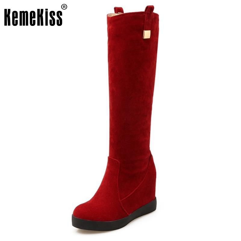Sexy Winter Knee High Boots Women Snow Fur Bota Feminina High Heels Platform Shoes Woman Boots Wedges Flock Size 34-39 real genuine leather boots rivet square heels autumn winter knee boots sexy martin fur snow boots shoes woman size 34 39