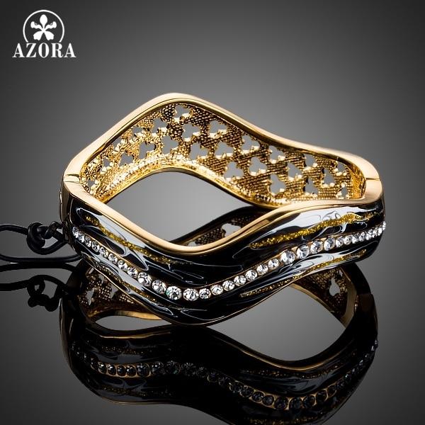 AZORA Gold Color Stellux Austrian Crystal Black Oil Painting Pattern Wavy Bangle Bracelet TB0081