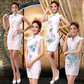 2016 winter home casual dress with flowers painted peacock ladies cotton cheongsam  chinese cultural elements peacock