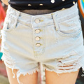 Buena Calidad Pantalones Cortos de Cintura Alta de Las Mujeres Pantalones Cortos de Mezclilla 2016 Verano Azul Claro Botón Rasgado Agujero Personalidad Pantalones Vaqueros Cortos Para Las Niñas