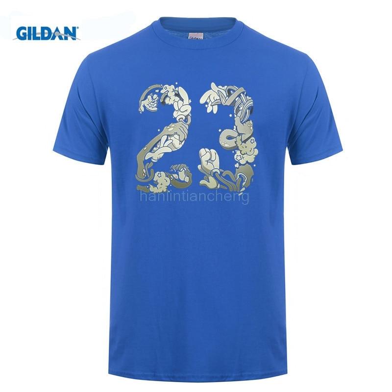 GILDAN mens t shirts Tshirt Men Black Short Sleeve Cotton Hip Hop T-shirt Print Tee Shirts Mens Space Jam 23 T Shirt