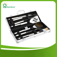 6 Pieces Stainless Steel Barbecue Tools Cooking Utensils Luxury Storage Case Professional Outdoor BBQ Tool Accessories Kit