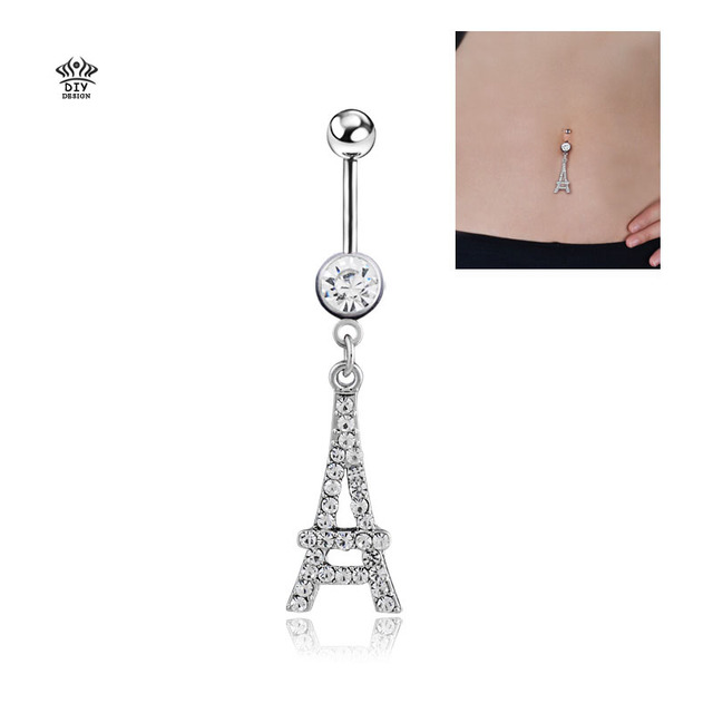 Us 1 39 30 Off 316l Surgical Steel Dangling Eiffel Tower Navel Bar Belly Ring Sexy Retro Crystal Button Ring Bar Body Piercing Jewelry On