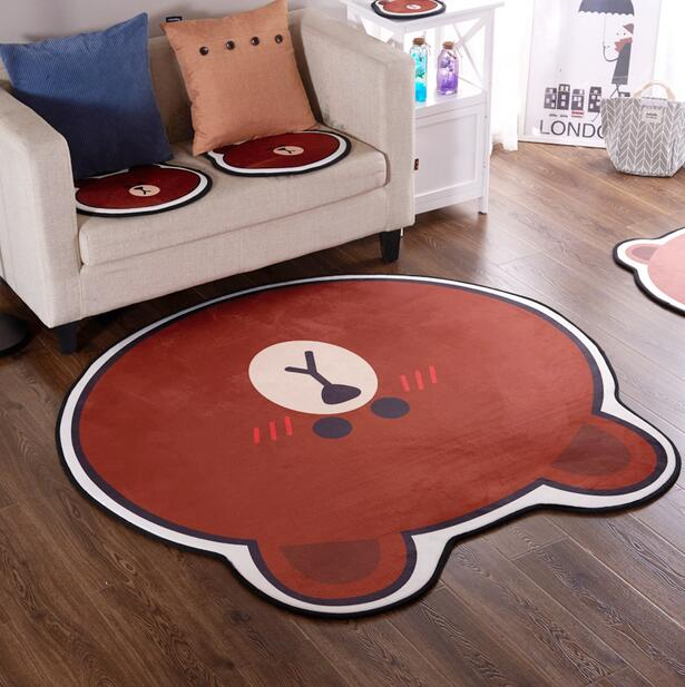 Brown bear cartoon Carpet Rug Baby Quilted Play Mats adorable slip resistant Rugs Kids Room Decoration living Room chair pad
