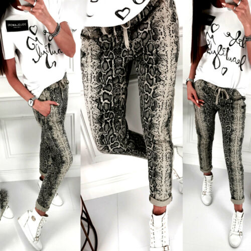 Summer 2019 Women Elastic Waist Jeans Long Pants Fashion Casual Loose Snake Pattern Long Trousers Street wear Clothes
