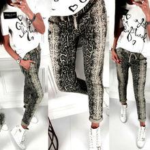 Лето 2019 Женщины Эластичные Пояса Джинсы Длинные Брюки Мода Повседневная Свободная Змея Pattern