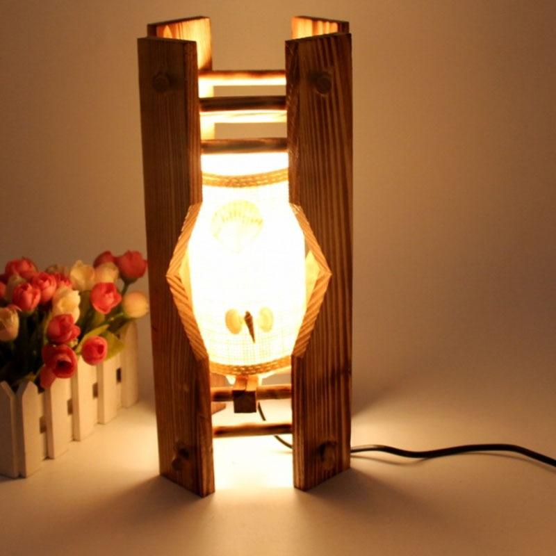 ᗐPiccola Lampada Da Tavolo A LED Legno Stile Rustico Soggiorno ...