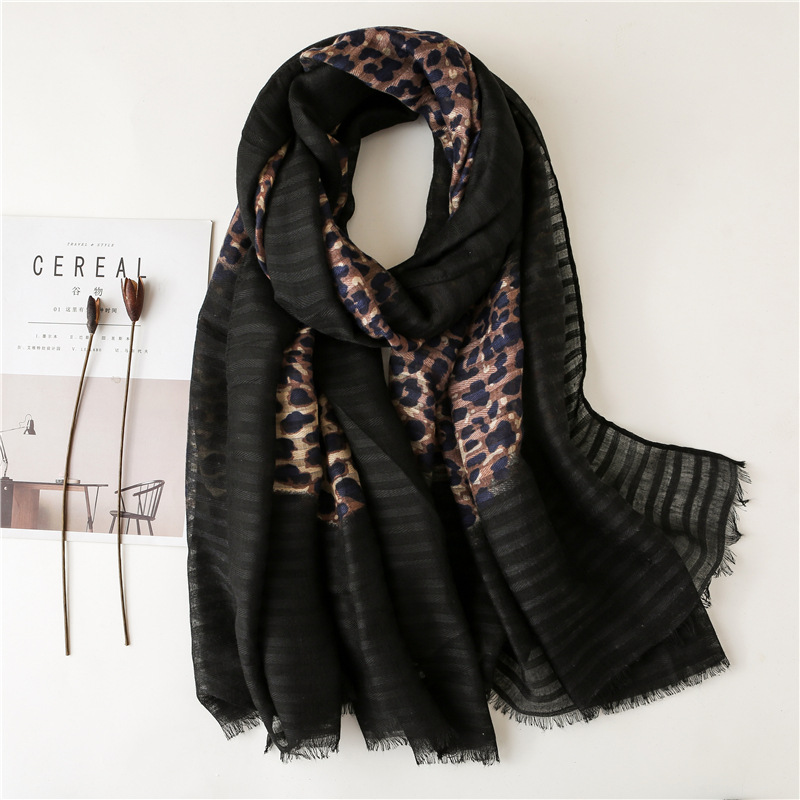 2019 Spring Autumn Fashion Ombere Leopard Viscose Scarf Ladies Print Shawls And Wraps Neck Snood Bandana Foulards Hijab Sjaal