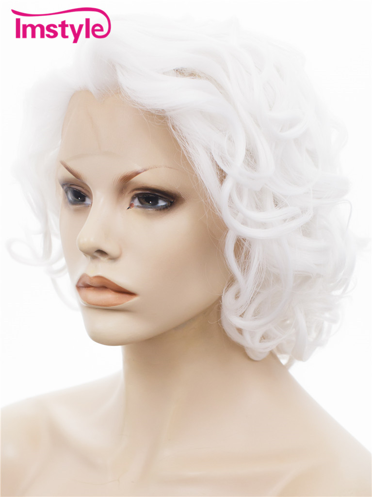 "Imstyle Wavy Synthetic black pure white 10"" lace front bob wig"