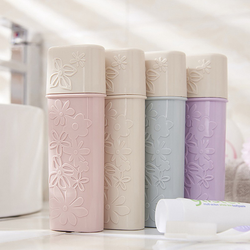 Travel Toothbrush Box Toothpaste Holder Flower Carved Washing Cup Toothbrush Cartridge Protector Sleeve Box Bathroom Products image