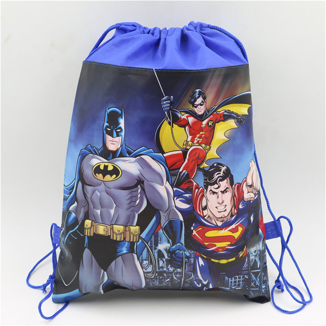1pclot Baby Shower Lego Decoration Drawstring Non Woven Fabric Batman Gifts Bags Birthday Party Backpack Kids Favors Supplies
