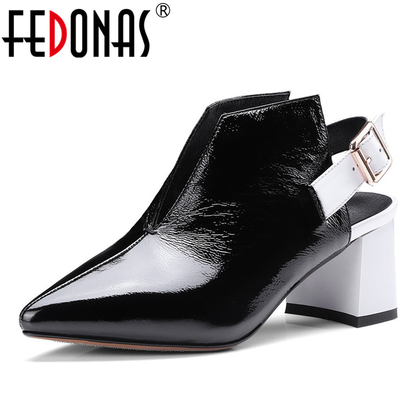 FEDONAS New High Heels Women Pumps Brand Spring Summer Fashion Ladies Genuine Leather Shoes Woman Ankle Strap Pointed Toe Pumps 2017 new sexy pointed toe high heel women pumps genuine leather spring summer shoes woman fashion dress party casual shoes pumps