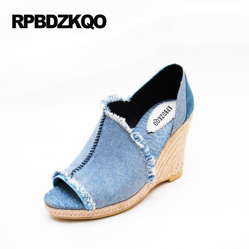 Denim Abnormal Women Open Toe High Heels Wedge Pumps 9cm 4 Inch 2017 34 Small Size Blue Vintage Shoes Summer Jean Trendy Slip On abnormal psychology 4e