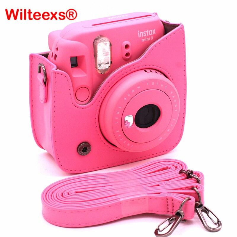 Wilteexs Fujifilm instax mini 8 8 s 9 Accesorios Pure color pu cuero Cámara bolsa de hombro