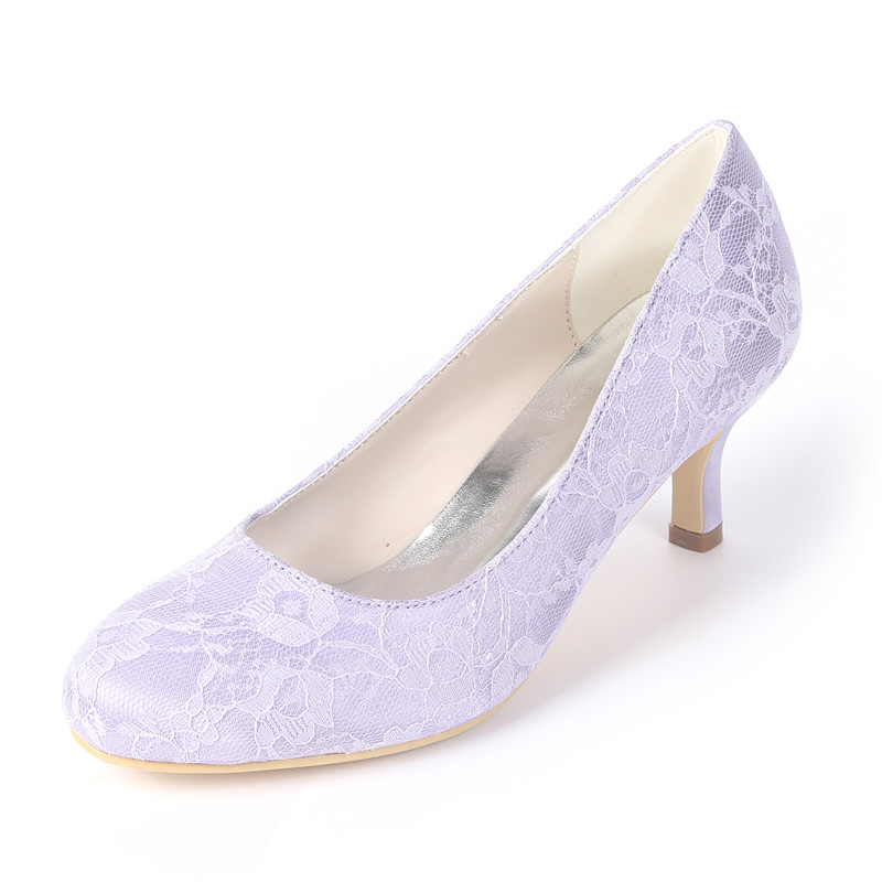 bf4ec577215 Lace Wedding Pumps High Heels Ivory White Light Purple Round Toe Uninnova  Court Shoes for Bride Bridesmaids CJB1195 01LS-in Women s Pumps from Shoes  on ...
