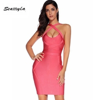 Ladies Party Prom Solid Color Sleeveless Straps Sexy Deep V Neck Bandage Dress Party Prom Dance