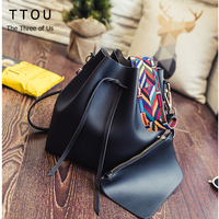 TTOU Fashion Colorful Strap Bucket Bag Women High Quality Pu Leather Shoulder Bag Brand Desinger Ladies