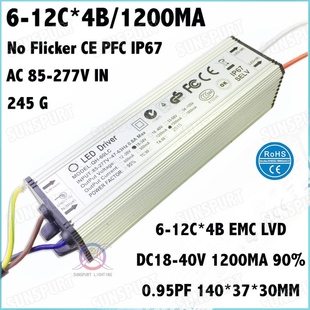 2 Pcs No Flicker CE IP67 PF>0.9 60W AC85-277V LED Driver 6-12Cx4B 1200mA DC18-40V Constant Current For Spotlights Free Shipping