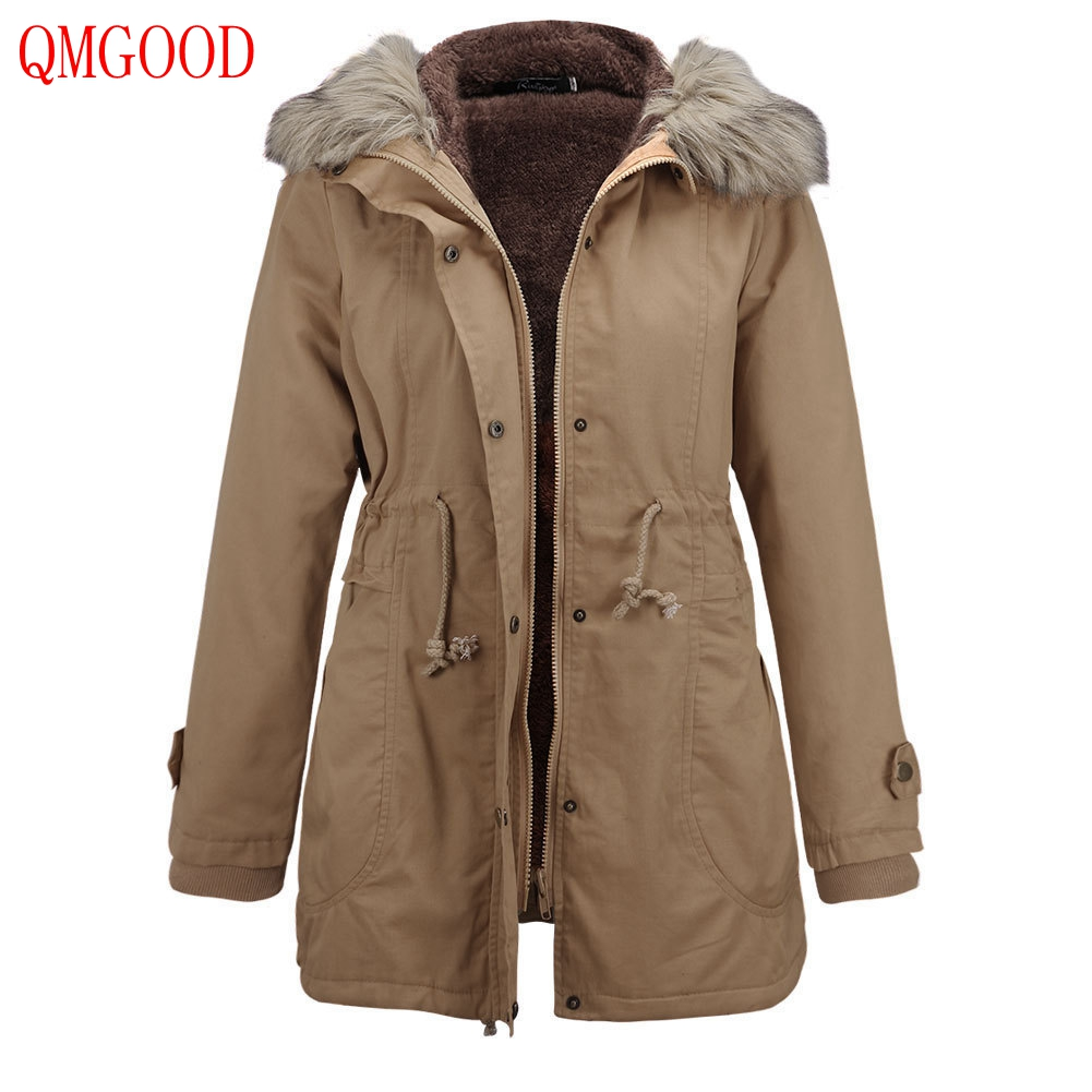 QMGOOD 2017 Winter Women's Parka with Fur Hood Slim Lace Up Solid Cotton Jacket Plus Cashmere Thicker Warm Female Parks and Coat stylish lace up straight slim jacket