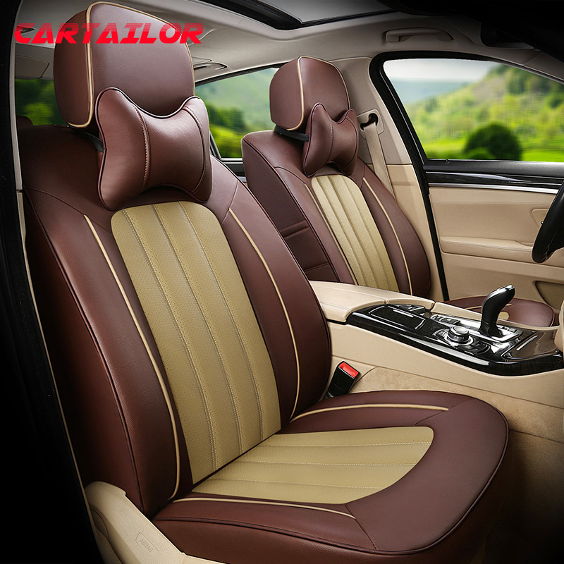 CARTAILOR Car Seat Cover for Kia Carnival Seat Covers Cars Accessories Genuine Leather & Leatherette Styling Auto Seats Cushions