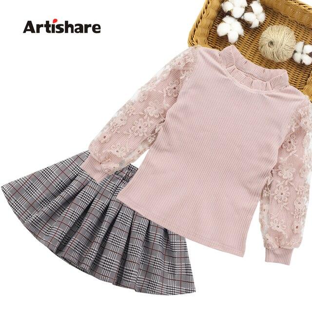 בנות בגדי פסים בגדי ילדים חליפות תחרה חולצה + חצאית 2pcs נער בגדי ילדי ערכות בגדים עבור 6 8 10 12 13 14