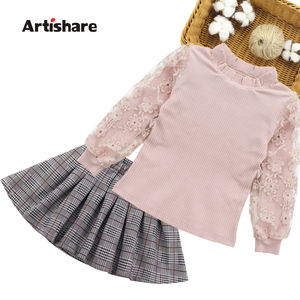 Image 1 - Girls Clothes Striped Childrens Clothing Suits Lace Blouse + Skirt 2pcs Teenager Clothing Sets Kids Clothes For 6 8 10 12 13 14