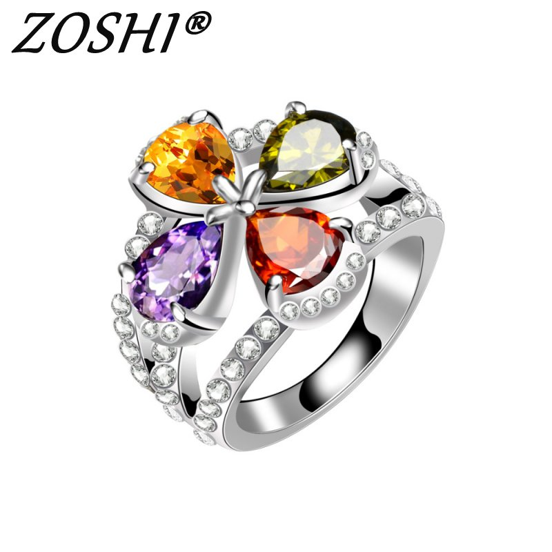 ZOSHI Fashion Classic Loving Flower Colorful & White CZ Silver