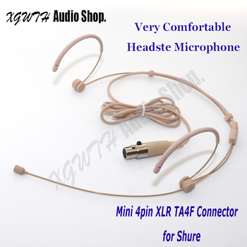 Beige Cardioid Double Ear Hook Headset Microphone for Shure Wireless Interview Speech Sing Record Mini XLR 4Pin TA4F Connector image