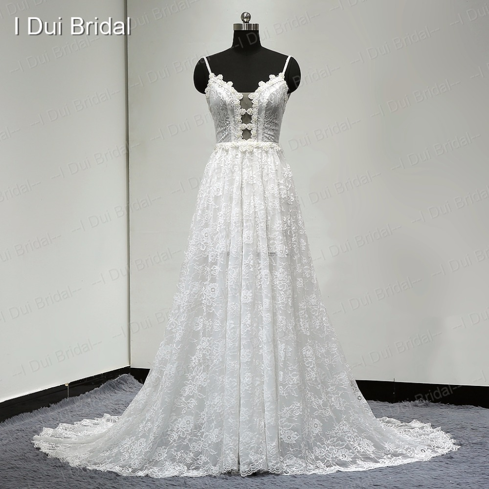 Spaghetti Strap A Line Lace Wedding Dress Unique Design 2017 New Style Drop Ship In Dresses From Weddings Events On Aliexpress