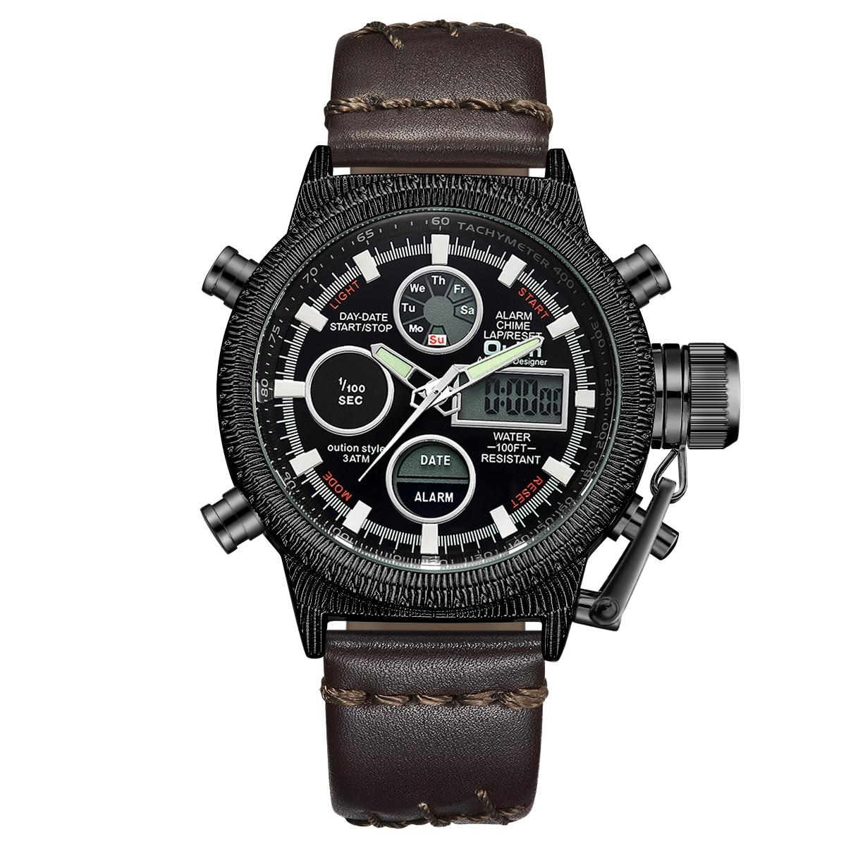 Oulm hommes montres de luxe marque en cuir montre de sport hommes Unique hommes Quartz LED horloge numérique étanche montre-bracelet militaire - 2