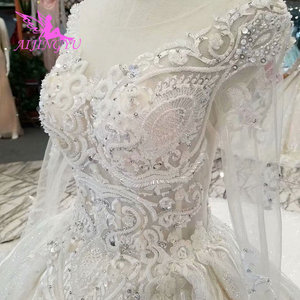 Image 1 - AIJINGYU Wedding Gowns With Sleeves Buy Gown Online Imported Romantic Love Train Dresses Satin New Wedding Dress