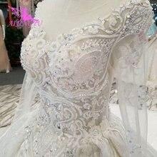 AIJINGYU 袖のウェディングドレスのガウンをオンラインで購入輸入ロマンチックな愛列車ドレスサテン新しいウェディングドレス