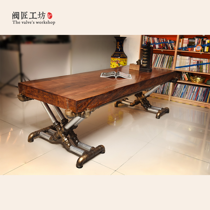 American Retro Industrial Wood Old Wrought Iron Tables Vintage Pine Desk Table Office Table Boss Table Factory Wholesale-J002