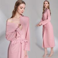 New Spring Women Robe Gown Sets Pink Sleepwear Robe Dress Long Bathrobes Dress Nightdress Rayon Cotton 0.8KG