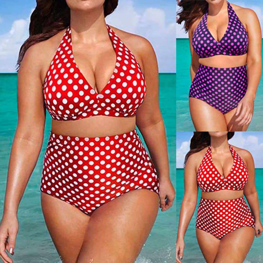 2019 Nieuwe Stijl Fashion Hot Dames Bikini Set Tops Uitsnede Padded Boog Dot Vrouwen Badpak Lage Taille Plus Size w6.6