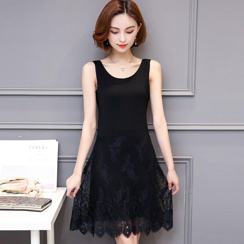 M 4XL plus size full slip women 2017 spring and summer modal sleeveless medium long tank top dress lim lace slip in Full Slips from Underwear Sleepwears