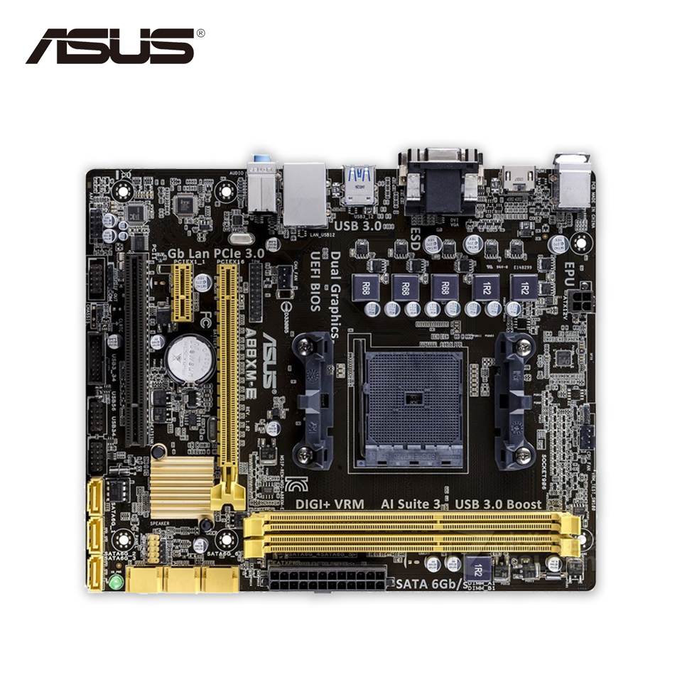 Asus A88XM-E Original Used Desktop Motherboard A88X  Socket FM2 DDR3 32G SATA3 USB3.0 Micro ATX