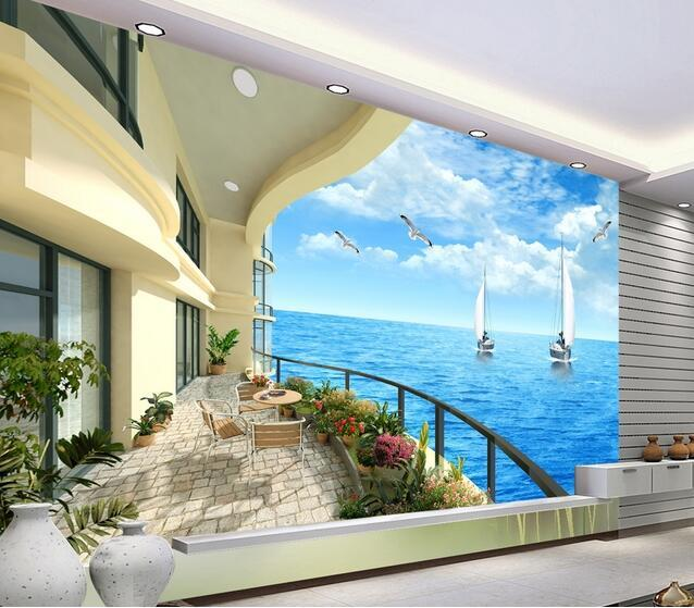 Minion Wallpaper Sea Landscape Murals 3D Wall Papers Living Room Bedroom Large Photo Mural Papel Para Pared In Wallpapers From Home Improvement On