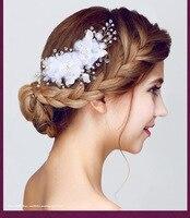 Main De Mariée En Soie Fleur Cheveux Clips Avec Perles et Simulé Perle De Mariage de Demoiselle D'honneur