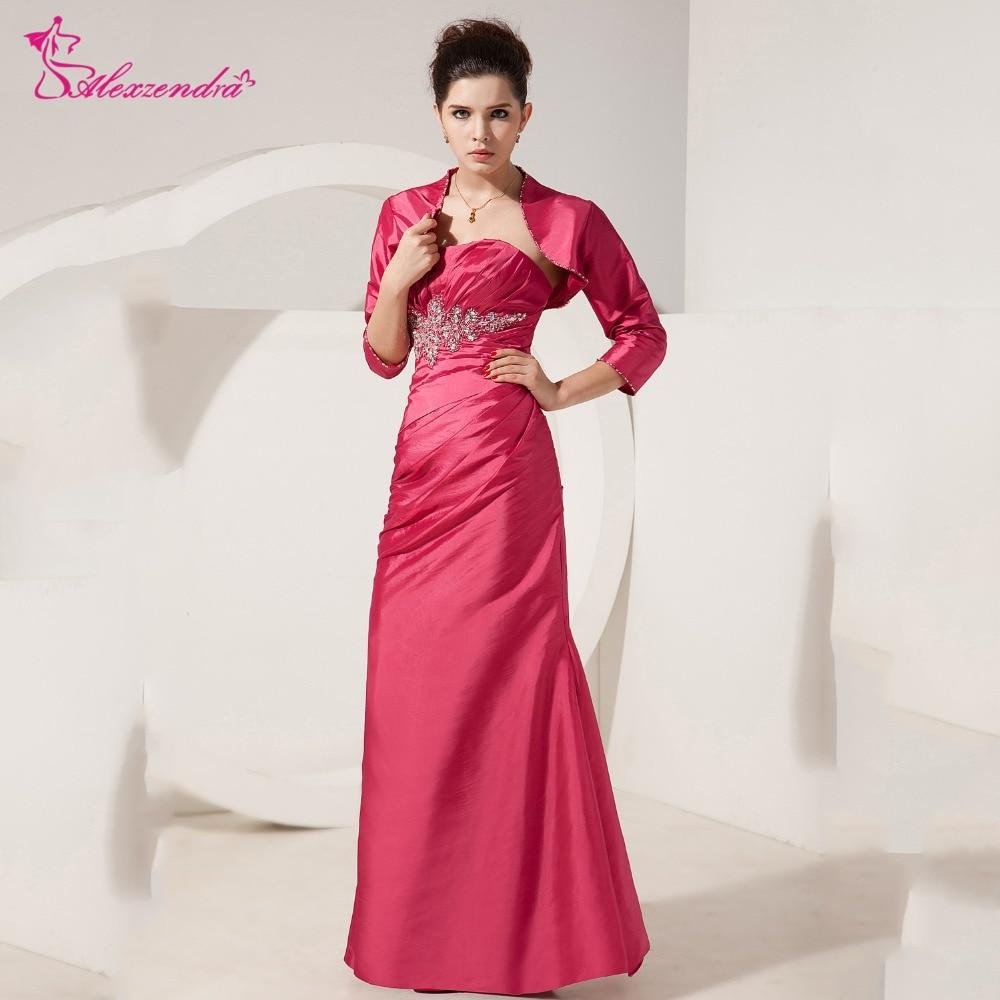Alexzendra chérie perlée longue mère de mariée robe avec veste droite longues robes de soirée grande taille