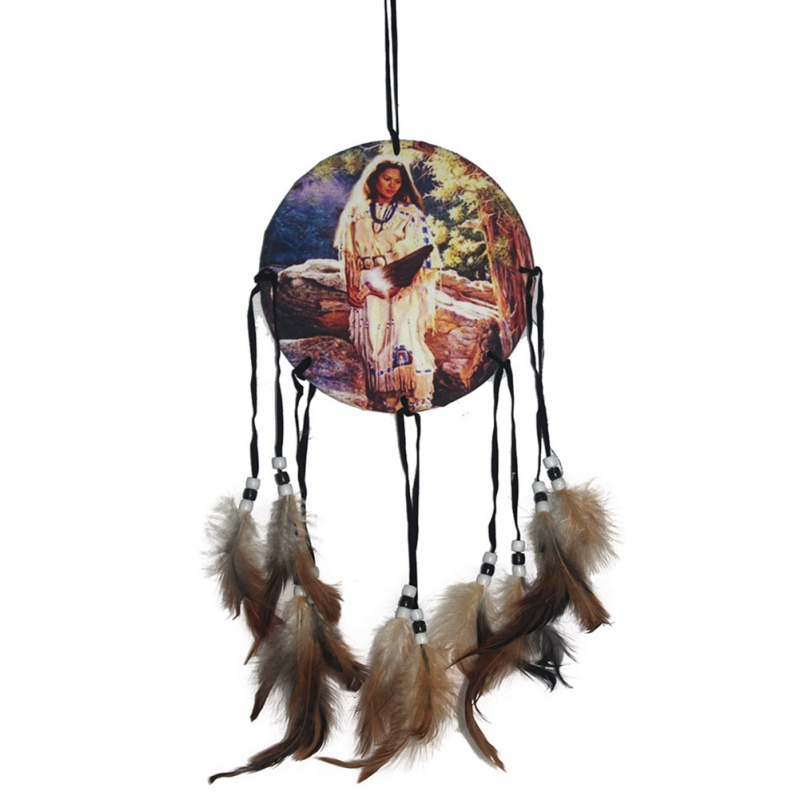 native american decoration brown long dream catcher beaded decor ornament craft gift 6412china - Native American Decor