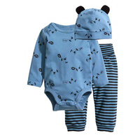 ZOFZ Best Selling Baby Set 6M 24M Baby Boy Clothes Hat Rompers Pants 3 Piece Baby