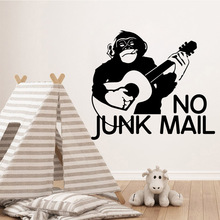 Music monkey guitar Wall Stickers Decorative Sticker Home Decor For Living Room Bedroom Murals