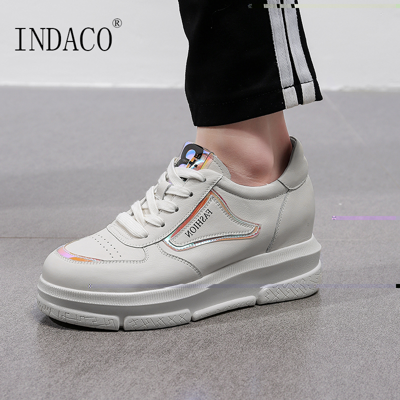2019 Leather White Sneakers Women Platform Height Increased Casual Sneakers Women Canvas Shoes 6 5cm Zapatillas