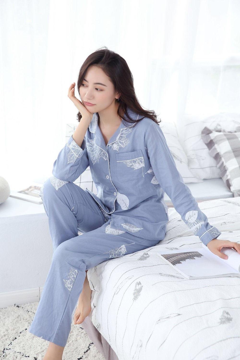 Image 3 - Fresh maple leaf pajama sets women 100% gauze cotton long sleeve casual sleepwear women pyjama pijamas para mujer-in Pajama Sets from Underwear & Sleepwears