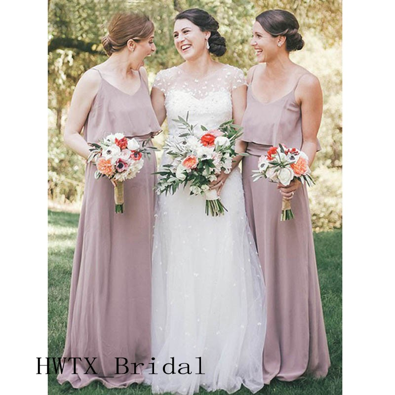 Spaghetti Straps Chiffon Long   Bridesmaid     Dresses   Dust Pink 2019 New A Line Country Wedding Guest   Dress   Women Formal Gowns Cheap